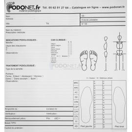 Fiche d'examen podologique pour podographe